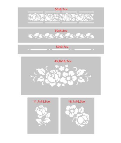 peony inlay zestaw szablnoów peonia peonie kwiat kwiaty do malowani an aścianie na meble meblach3