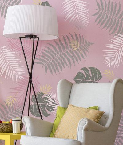 tropical szablon malarski na ścianę do malowania tropikalny scandi monstera palma liść liście 01
