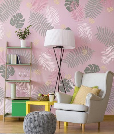 tropical szablon malarski na ścianę do malowania tropikalny scandi monstera palma liść liście 02