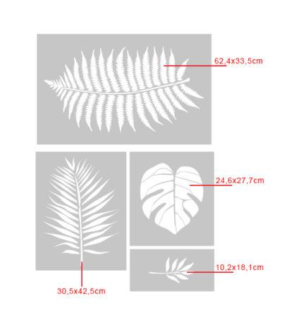 tropical szablon malarski na ścianę do malowania tropikalny scandi monstera palma liść liście 03
