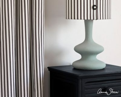 Athenian Black side table Curtain and lampshade in Ticking in Graphite lamp base in Svenska Blue image 4