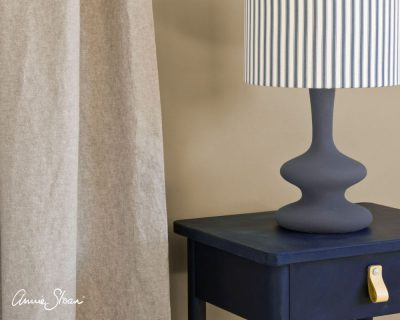 Oxford Navy side table curtain in Linen Union in Old White French Linen lamp base in Old Violet lampshade in Ticking in Old Violet image 4