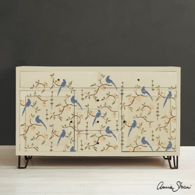 Chinoiserie Bird Stencil Furniture Olive Old Violet Arles Honfleur Old Ochre