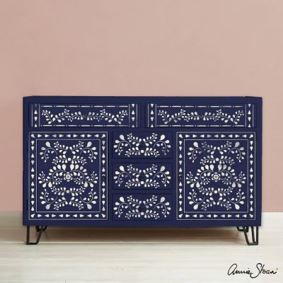 Faux Bone Inlay Stencil Furniture Oxford Navy and Antoinette Background