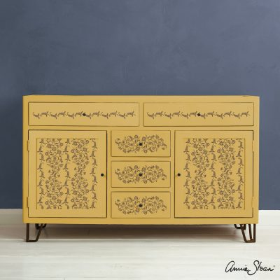Indian Paisley Garland Stencil Furniture Honfleur on Mustard