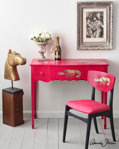 Hollywood Regency Capri Pink Lobster Desk 1