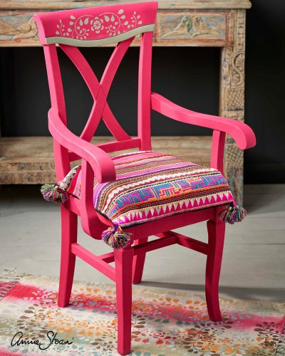 Indian inspired Capri Pink chair with Faux Bone Inlay stencil 1